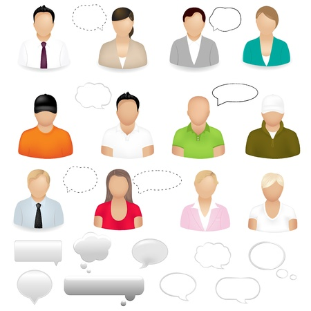 retort: 12 People Icons With Dialog Bubbles, Isolated On White Background, Vector Illustration