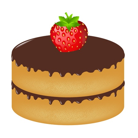 Birthday Cake Wit Strawberry, Isolated On White Background, Vector Illustration Vector