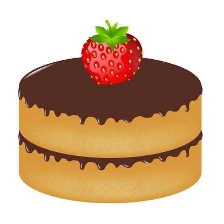 Verjaardag Cake Wit aardbei, geïsoleerd op een witte achtergrond, vectorillustratie