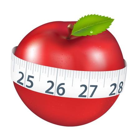 verlies: Rode appel met meting, geïsoleerd op een witte achtergrond, vectorillustratie