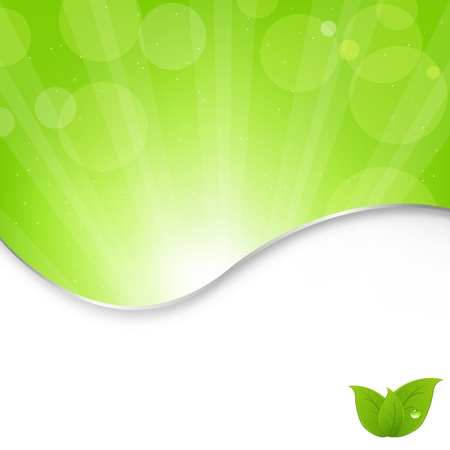 Abstract Nature Green Background With Beams, Vector Illustration Vector