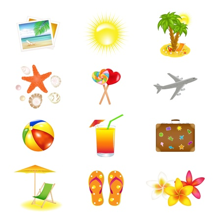 jetliner: 12 Vacation  And Travel Icons, Isolated On White Background, Illustration