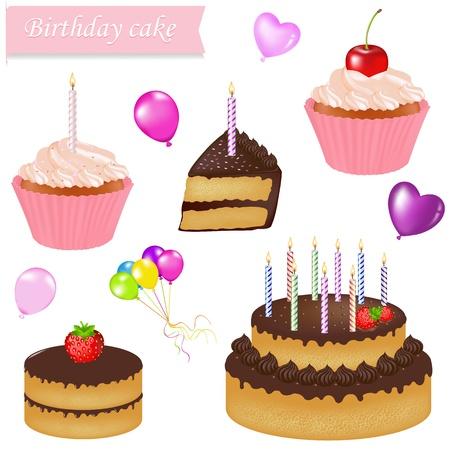 icing: Birthday Cake Set, Isolated On White Background, Vector Illustration