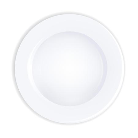 piatto cibo: Piastra, isolato su sfondo bianco, illustrazione vettoriale