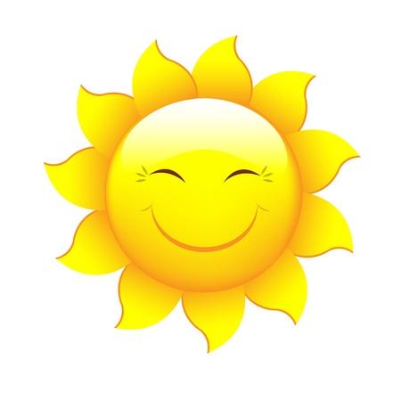 estrellas: Sun dibujos animados, aislados sobre fondo blanco, ilustraci�n vectorial