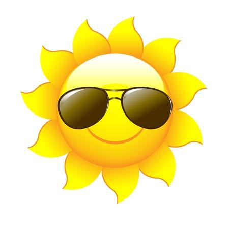 soleil souriant: Personnages de dessins anim�s Sun, isol�s sur fond blanc, Illustration vectorielle Illustration