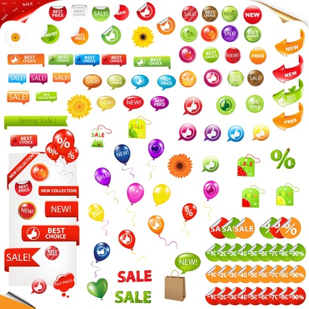 Big Collection Of Sale Elements, Isolated On White Background, Vector Illustration Stock Vector - 9391504