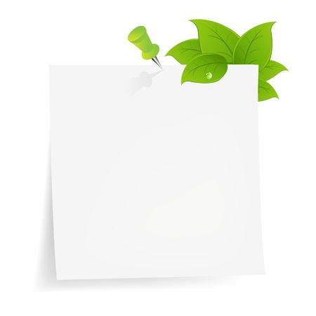 stick note: Blank Note Paper With Green Leaf, Isolated On White Background, Vector Illustration Illustration