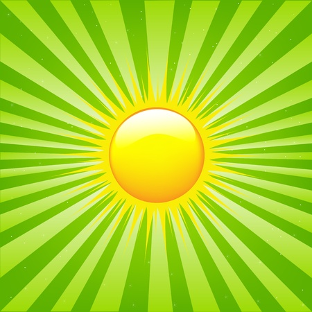 heat radiation: Bright Sunburst With Beams And Sun, Vector Illustration