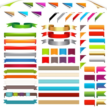 web page elements: Corners And Ribbons, Isolated On White Background, Vector Illustration