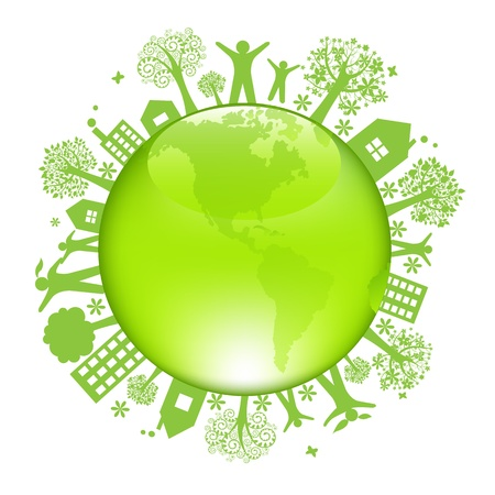 green earth: Earth Day Concept, Isolated On White Background, Vector Illustration Illustration
