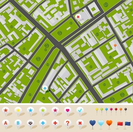 City Map With GPS Icons, Vector Illustration Vector