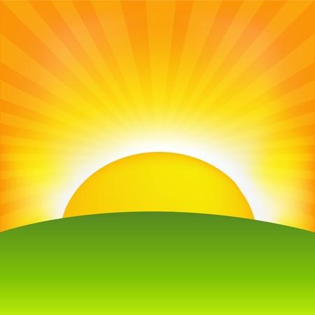 Puesta de sol y el horizonte, ilustración vectorial