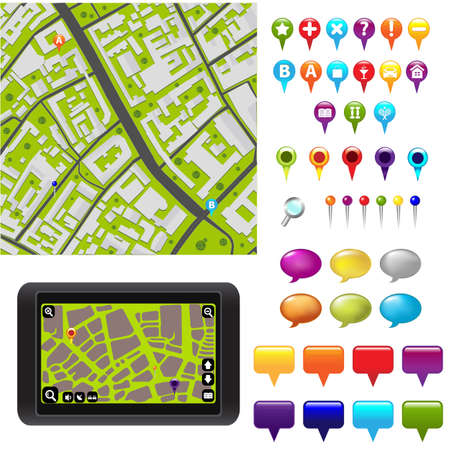 City Map With GPS Icons  Stock Vector - 9419421