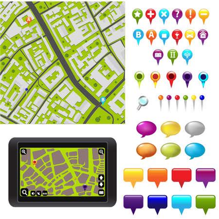 marcador: Mapa de la ciudad con iconos GPS