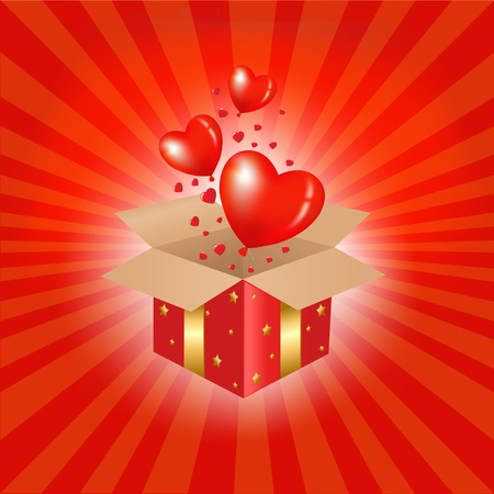red gift box: Red Gift Box And Hearts