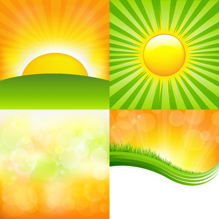 sunrays: 4 Sunburst And Abstract Backgrounds, Vector Illustration