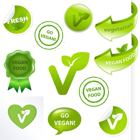 Vegan Elements Set, Isolated On White Background, Vector Illustration Stock Vector - 9429941