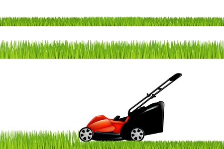 Lawnmower With Grass Set Vector