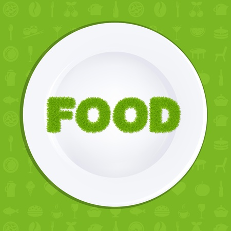White Plate With Inscription Food From Grass Vector