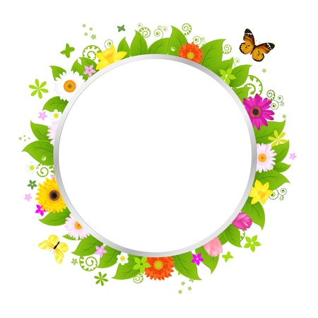 Circle With Flowers Stock Vector - 9485831