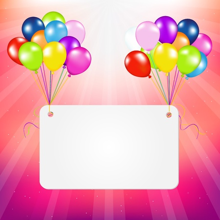 Birthday Card With Balloons, Illustration Vector