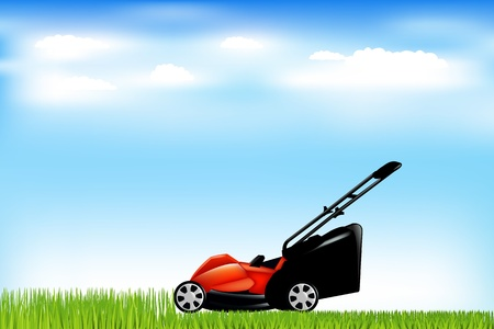 Red Lawn Mower With Grass And Blue Sky, Illustration      Illustration