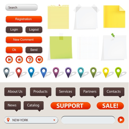 feedback label: Collection Of Website And GPS Navigation Elements For Your Web Projects, Vector Illustration