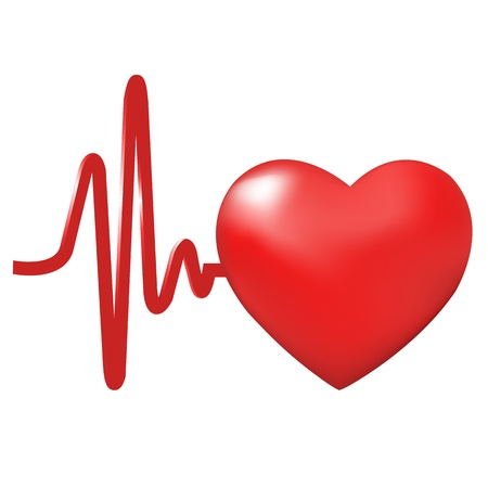 diagnosis: Heart Beats, Isolated On White Background, Vector Illustration