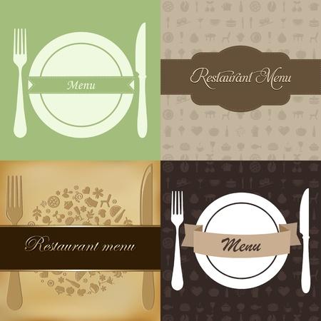 the land of menu: Restaurant Menu Set, Vector Illustration