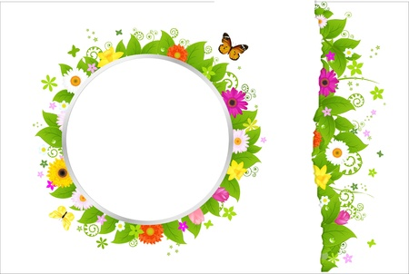 Circle And Border From Flowers, Isolated On White Background, Vector Illustration Vector