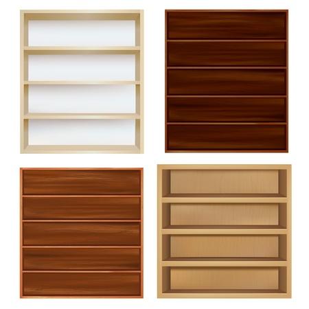 wood trade: Set Empty Bookshelf, Isolated On White Background, Vector Illustration