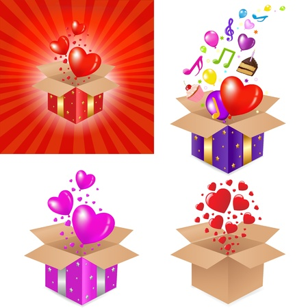 fruitcake: 4 Gift Box With Surprise And Balloons, Isolated On White Background, Vector Illustration