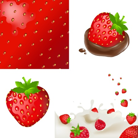 cottage cheese: Сollection Strawberry, Isolated On White Background, Vector Illustration