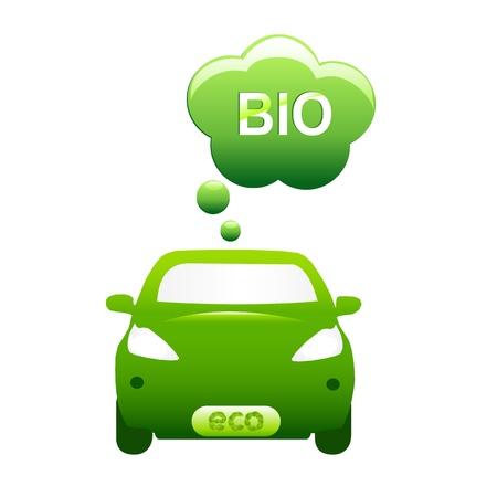 eco car: Eco Car, Geà ¯ soleerd op witte achtergrond, Vector Illustratie Stock Illustratie
