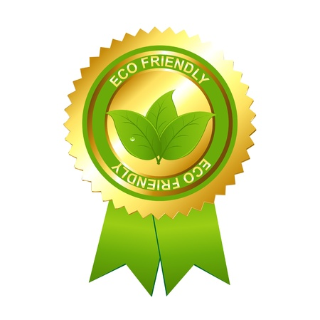environment friendly: Eco Friendly Emblem, Isolated On White Background, Vector Illustration