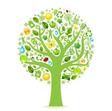 ahorro energetico: �rbol de eco, aislado sobre fondo blanco, ilustraci�n vectorial