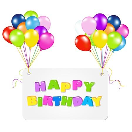 1st birthday: Birthday Card With Balloons, Vector Illustration