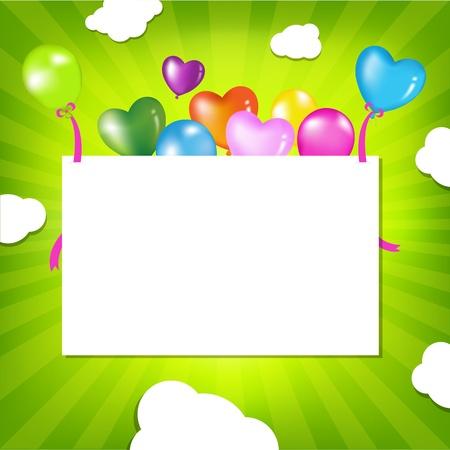 marco cumplea�os: Ilustraci�n de cumplea�os con globos, ilustraci�n vectorial