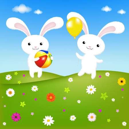 2 Rabbits And Field, Vector Illustration  Vector