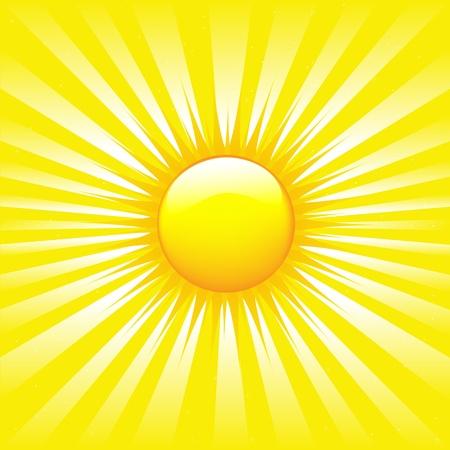 rayos de sol: Sunburst brillante con ilustración de vigas Vectores