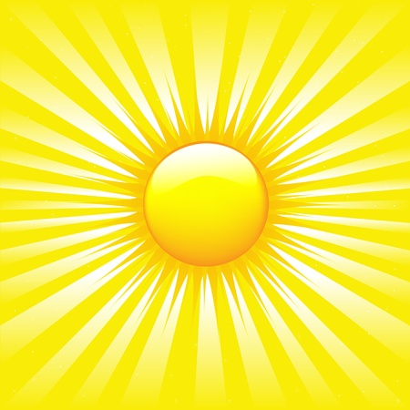 sun flare: Sunburst luminoso con travi illustrazione Vettoriali