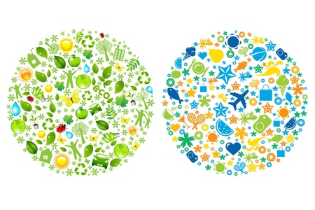 human biology: 2 Sphere From Tourist And Eco Icons, Vector Illustration