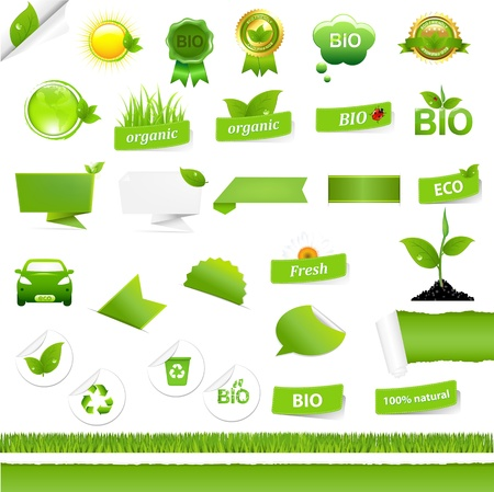 Bio Signs Set, Isolated On White Background, Vector Illustration Vector