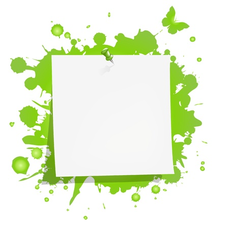 Blank Note Paper With Green Blot, Isolated On White Background, Vector Illustration