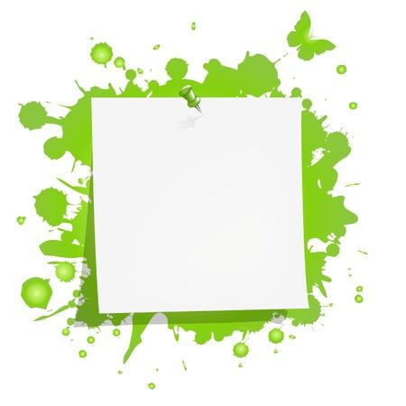 cardboard cutout: Carta bianca nota con il verde della macchia, isolata su sfondo bianco, illustrazione vettoriale Vettoriali