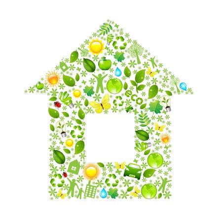 conviviale: Eco House, isol� sur fond blanc, illustration vectorielle