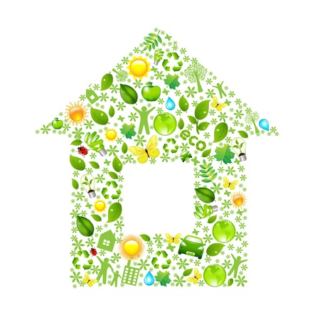 eco building: Eco House, Isolated On White Background, Vector Illustration