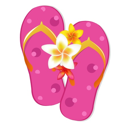 Flip Flop Sandals With Plumeria Flowers, Isolated On White Background, Vector Illustration Illustration
