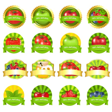 vitamins: Fruits And Vegetables Labels Set, Isolated On White Background, Vector Illustration